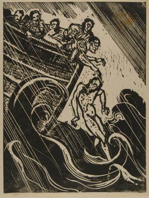 Jonah Thrown in the Sea, illustration to The Book of Jonah, Jewish Publication Society, Philadelphia, 1952