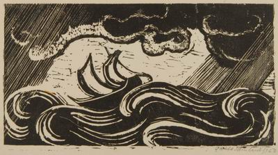 Ship in Storm, illustration to The Book of Jonah, Jewish Publication Society, Philadelphia, 1952