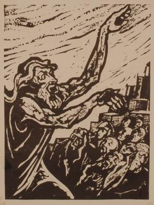 Jonah Preaches in Nineveh, illustration to The Book of Jonah, Jewish Publication Society, Philadelphia, 1952