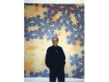 Reuven Kadim with his painting Islamic Fractals No. 10 (1999)
