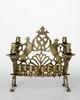 Hanukkah lamp with four Sabbath candleholders