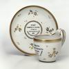 Cup and saucer with dedication inscriptions