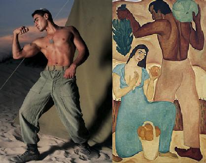 """פרט מתוך ראובן רובין, """"פירות ראשונים"""" (מימין) ועדי נס, ללא כותרת, (משמאל)."""