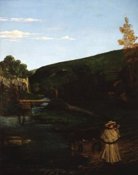 """גוסטב קוּרבֶּה, צרפת, 1877-1819 נוף היורה עם רועה וחמור, 1866 צבעי שמן על בד מתנת איוון וליזה קאופמן, ניו יורק, לידידי מוזיאון ישראל בארה""""ב."""