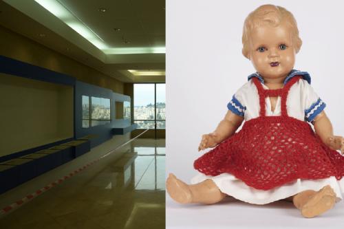 בובה של הילדה אדית פבר מסלובקיה מוצגת בתערוכה באולם המבואה של ארכיון יד ושם, אוסף החפצים של מוזיאון יד ושם, תרומת צביה שקולניק, באר שבע. צילום: אלעד זגמן