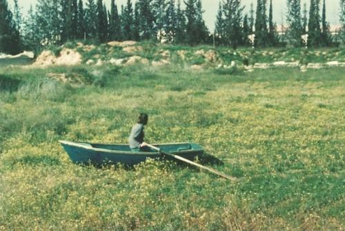 """טניה פרמינגר, """"Sea"""",1989, הדפס צבע,110x80ס""""מ. עבודה ירוקה זו, בניגוד לעבודות האדומות ולעבודות המסמנות תנועה אל תוך החלל, הוצגה נגד כיוון התנועה ורמזה על מחאה כחתירה שאינה נפסקת, על פעולה עיקשת בת שנים של עמידה במקום, על מקומו של היחיד המבקש ללכת נגד הזרם. """"מַה יִּתְרוֹן לָאָדָם בְּכָל-עֲמָלוֹ שֶׁיַּעֲמֹל תַּחַת הַשָּׁמֶשׁ [...] הוֹלֵךְ אֶל-דָּרוֹם וְסוֹבֵב אֶל-צָפוֹן; סוֹבֵב סֹבֵב [...] אֶל-מְקוֹם שֶׁהַנְּחָלִים הֹלְכִים שָׁם הֵם שָׁבִים לָלָכֶת"""" (""""קוהלת"""", א', ג', ו'–ז')"""