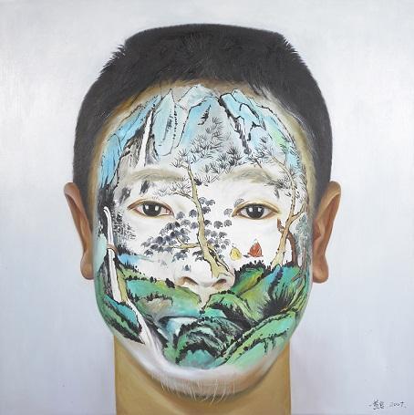 """יאן הואנג, """"נוף סיני, קיץ"""". ציור פנים, שמן על בד, 2007"""