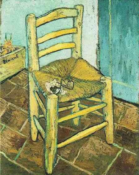 """וינסנט ואן-גוך, """"הכיסא והמקטרת"""", שמן על בד, 1888"""