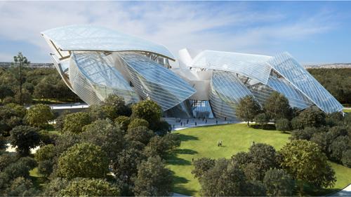 מוזיאון לואי ויטון וסביבתו. אדריכל: פרנק גארי. פריז 2014